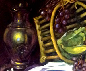 Detail. Notice the realistic depiction of the pewter coffee pot, and the reflections on the metal surface; a rather difficult effect to achieve, but a trademark of impressionist master of the Spanish School Dulce Beatriz.