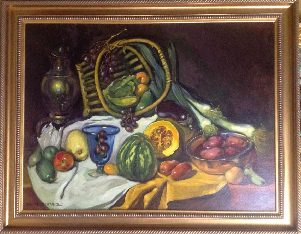 "ABUNDANCIA by Dulce Beatriz, oil on canvas, 36""x48"". Circa 1999"