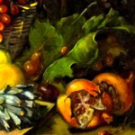 Detail. Here you see the artichoke and the pomegranates in exquisite, realistic detail. Notice the play of light and shadow.