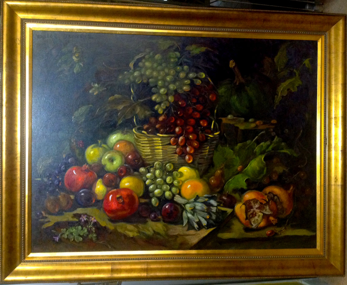 "ALCACHOFA Y MANZANAS  (ARTICHOKE AND APPLES) by Dulce Beatriz. Oil on canvas. 36""x48"" Circa 2001."
