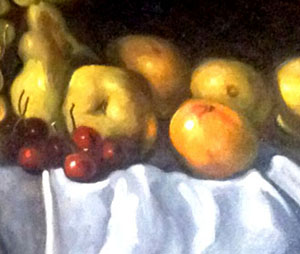 Detail. Pears and cherries.  Notice how the intensity of reflected light changes between those fruits in front and those in the back. Notice the folds of the tablecloth.