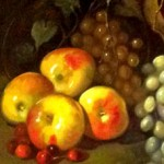 Detail. Apples, cherries and grapes. Notice how the light reflecting off each fruit, especially the grapes is treated individually and with full attention to the source and angle of incoming light, and the colors of surrouinding elements.