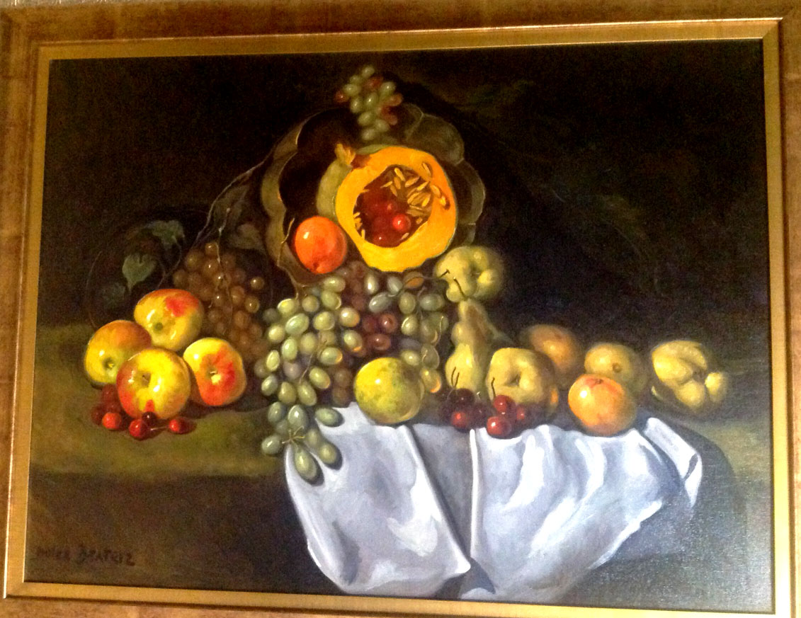 "MELON Y CEREZAS by Dulce Beatriz. Oil on canvas. 36""x48"" circa 2001."